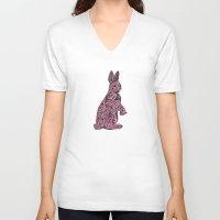 rabbit V-neck T-shirts featuring Rabbit by Kanika Mathur Design