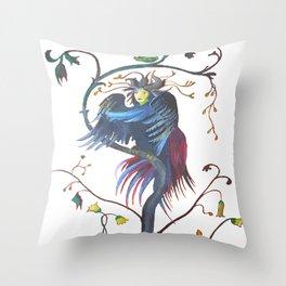 Gamaun Halloween Prophetic Raven Vector Throw Pillow