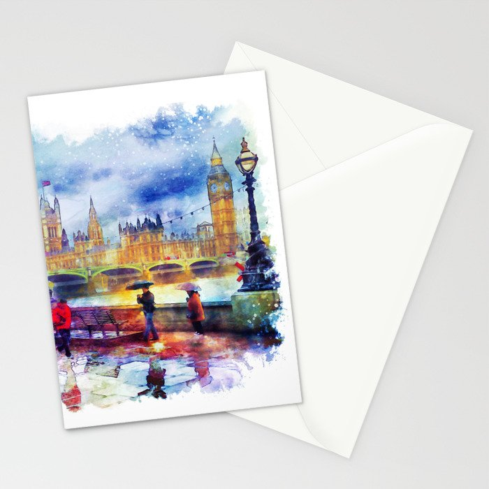 London Rain watercolor Stationery Cards