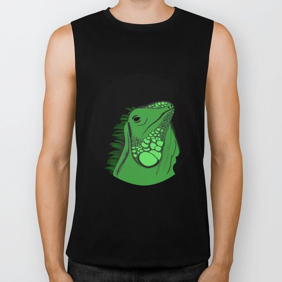 Green Iguana Illustration  Biker Tank