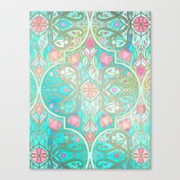 morrocan Canvas Prints featuring Floral Moroccan in Spring Pastels - Aqua, Pink, Mint & Peach by micklyn