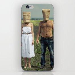 Paper bag couple iPhone Skin