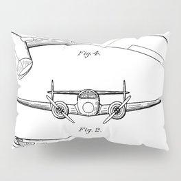 Lockheed Airplane Patent - Electra Aeroplane Art - Black And White Pillow Sham