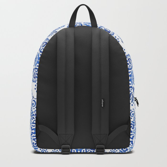 Watercolor abstract blue pattern on a white background . Backpack