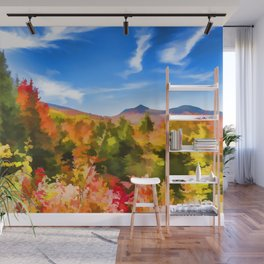 Mountain foliage painting Wall Mural