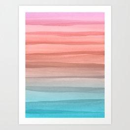 Colorful Watercolor Lines Pattern Art Print