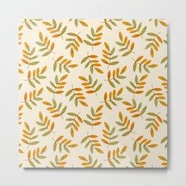 Autumn rustic green brown watercolor leaves pattern Metal Print
