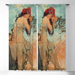 1896 SUMMER - 4 Seasons Alphonse Mucha Art Nouveau Goddess Vintage Lithograph French Blackout Curtain