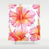 hibiscus Shower Curtains featuring Hibiscus by Sanjana Baijnath