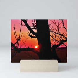 FIERY PINK & ORANGE SUNSET WITH TREE SILHOUETTE Mini Art Print
