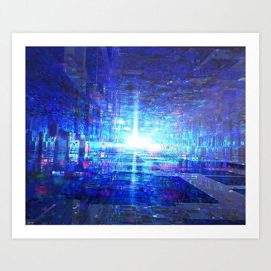 Blue Reflecting Tunnel Art Print