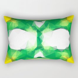 psychedelic skull art geometric triangle abstract pattern in green yellow Rectangular Pillow