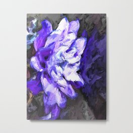 Purple and White Flower with Reflection Metal Print