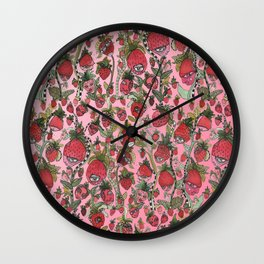 Strawberry Friends in pink Wall Clock