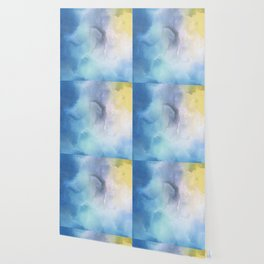 Navy blue teal lavender yellow watercolor brushstrokes Wallpaper