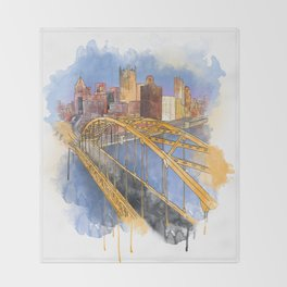 Pittsburgh Fort Pitt and Downtown Throw Blanket