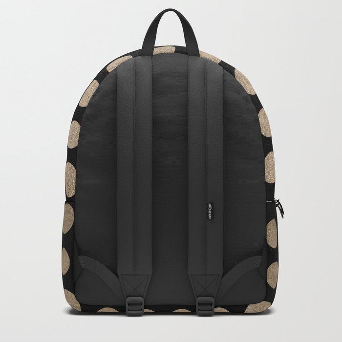 White Gold Sands Polka Dots on Midnight Black Backpack