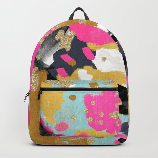Sacha - abstract painting boho color palette bright happy dorm college abstract art Backpack