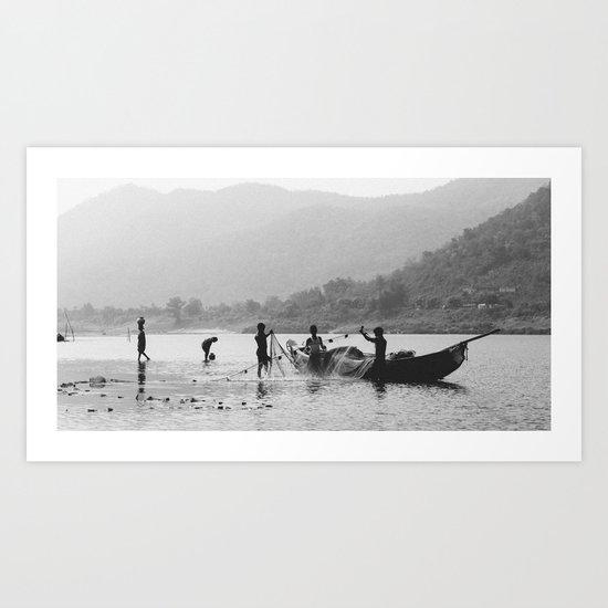 Life on the Godavari River Art Print