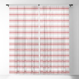 Mattress Ticking Wide Striped Pattern in Red and White Sheer Curtain