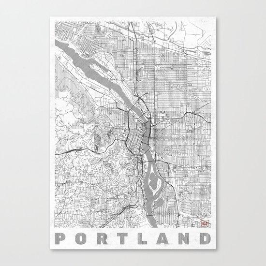 Portland City Map Line Canvas Print