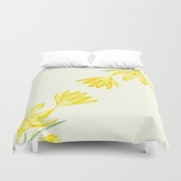 yellow botanical crocus watercolor Duvet Cover