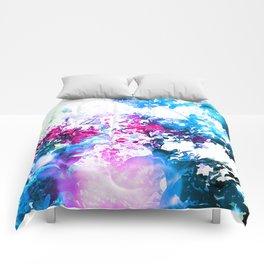 Hot Pink Blue Bokeh Flowers Comforters