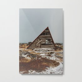 Icelandic Asymmetrical A-Frame Cabin Metal Print