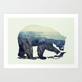 California Grizzly Bear Mountainscape Art Print