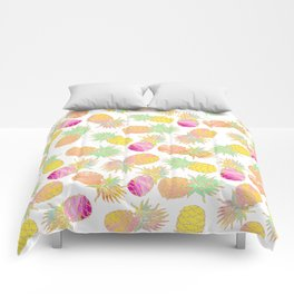 Tropical neon pink teal watercolor faux gold glitter pineapple Comforters