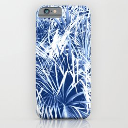 Palm Fronds Blue and White Duo Tone Abstract iPhone Case