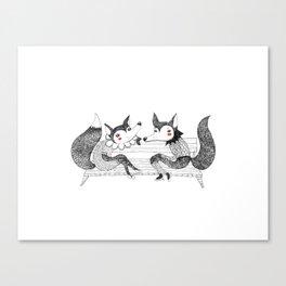 foxy ladies black & white Canvas Print