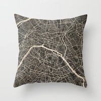 paris map Throw Pillows featuring Paris map by NJ-Illustrations