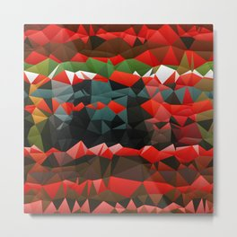 Red Green Quilted Pattern Design Metal Print