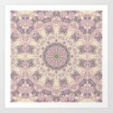 47 Wisteria Circle - Vintage Cream and Lavender Purple Mandala by chickensinthetrees