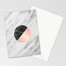 Carrara Italian Marble Black and Pink Stationery Cards