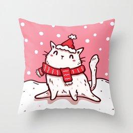 Christmas Kitten v.2 Throw Pillow