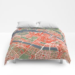 Copenhagen city map classic Comforters