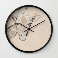 giraffe Wall Clocks featuring Giraffe by Kayla Cole