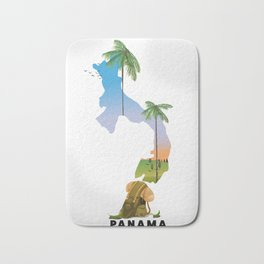 Panama map travel poster. Bath Mat