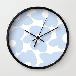 Large Baby Blue Retro Flowers White Background #decor #society6 #buyart Wall Clock