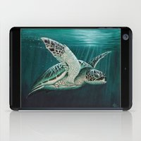 """biology iPad Cases featuring """"Moonlit"""" - Green Sea Turtle, Acrylic by Amber Marine"""