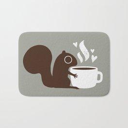 Squirrel Coffee Lover   Cute Woodland Animal Badematte