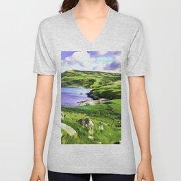 Torr Head View, Ireland. (Painting.) Unisex V-Neck