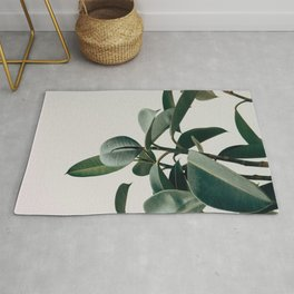Minimalist Mid Century Modern House Plant Green Leaves Rug