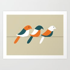 Birds on wire Art Print