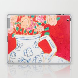 Delft Bird Pitcher on Red Background Laptop & iPad Skin