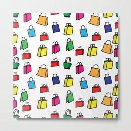 Colorful shopping bags pattern Metal Print