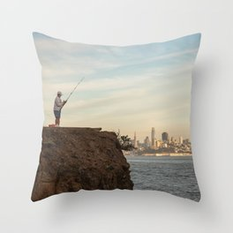 Fishing in San Francisco Photography, Sunset in SF, Sausalito view of San Francisco Throw Pillow