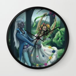 The Dance of Winter and Spring Wall Clock